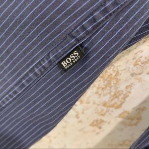 Hugo Boss Shirts - Boss HB Blue & Black Pinstripe Button Down Top